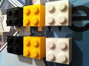 MOnkiStuff 6 Retro Kitsch Fridge Magnets Black Yellow White made using LEGO®