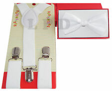 KIDS White Suspenders And BowTie Set CUTE COLORS Children Suspenders And Bow Tie