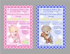PRECIOUS MOMENTS CUSTOM GIRL OR BOY BABY SHOWER INVITATION & TY CARD U PRINT