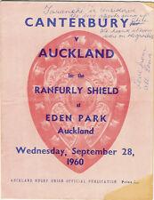 Auckland v Canterbury 28 Sep 1960 Ranfurly Shield, NZ Rugby Prog