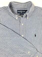Ralph Lauren Mens LT BLAIRE Cotton Linen Blue White Striped Shirt RN 41381