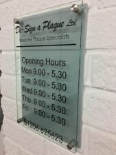 MODERN SHOP OPENING TIMES SIGN SILVER GLASS ACRYLIC BUSINESS SHOP SIGN