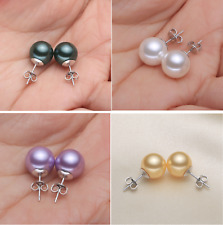 6/8/10/12mm Natural South Sea Shell Pearl Stud Earrings 925 Sterling Silver Set