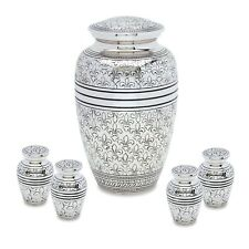 Silver Fleur De Lis Adult Cremation Urn with 4 matching tokens