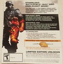 PS3 Battlefield 1943 + BF BC2 Onslaught Mode Full Game Voucher Card Only rare