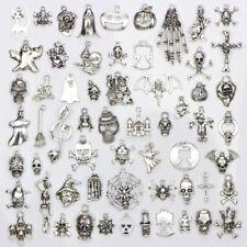60pcs New Mixed Lots of Skull Silver Tone Hand Halloween Skull Charms Pendants