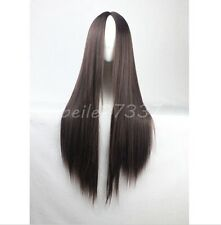 Womens Long Straight Hair Full Wig Heat Resistant Cosplay Wig No bangs+Wig Cap