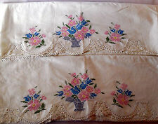 Vintage Floral Basket HAND EMBROIDERED CROCHET PAIR PILLOW CASE completed PC41