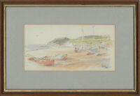 Antony Warren - Signed & Framed Contemporary Watercolour, Calm Coastal Scene