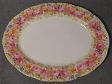 "1940s Royal Albert SERENA #839829 Bone China Roses Gold 12 3/4"" Meat Serving Pla"