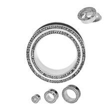 "PAIR-Crystal Clear 2 Row CZ Gems Steel Screw On Tunnels 16mm/5/8"" Gauge Body Jew"