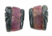 45 Carat Pair Banded Carved Carving Watermelon Tourmaline Cab Cabochon Gemstone