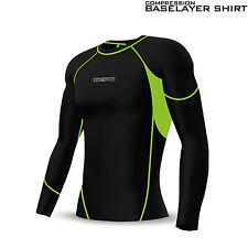 Mens Compression Top Base Layer Activewear Sports Shirt Under Skin Suit Black
