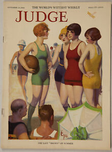 Vintage September 1924 Judge Magazine Enoch Bolles Beach Beauties Pin-Up Cover