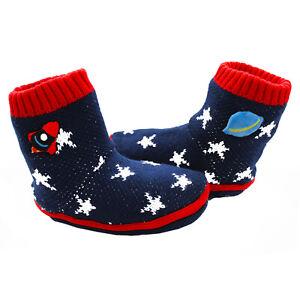 Boys Slipper Socks Sherpa Fleece Lined Space Star Rocket Booties NEXT Non Slip