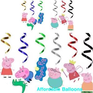 Peppa Pig Happy Birthday Party Hanging Swirl Banner Decorations Set X 6