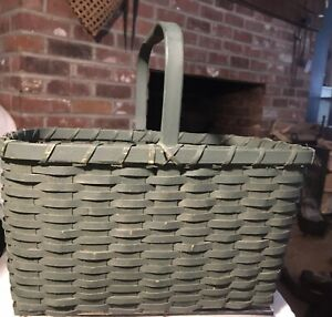 Early Primitive Splint Oak Basket Green Painted Rectangular Basket With Handle
