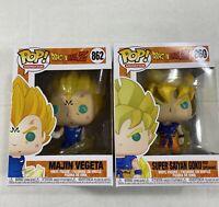 2 Lot Funko POP! Dragon Ball Z Majin Vegeta #862 Super Saiyan Goku #860 Figure
