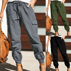 Women's Combat Cargo Trousers Elastic Waist Joggers Long Pants Casual Bottoms US