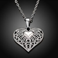 Women Heart Crystal Charm Sterling Silver Plated Pendant Chain Necklace Jewelry