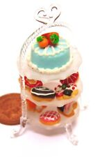 1:12 Scale 3 Tier Glass Stand With 10 Cakes Tumdee Dolls House Accessory Nk5