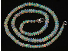 Super Flashing Fire Natural Ethiopian Opal Smooth Rondelle Beads Necklace 16""