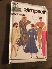 Simplicity Pattern 7999 Misses Dress Easy To Sew Raglan Sleeves size 12-18 uncut