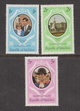 1981 Royal Wedding Charles & Diana MNH Stamp Set Maldives Perf SG 918-920 Pink