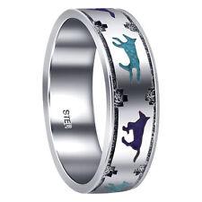 925 Silver Turquoise & Lapis Gemstone inlay Southwestern 7mm Wedding Band Ring