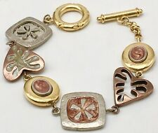 "Liz Claiborne Gold and Silver Tone 7"" Charm Bracelet"