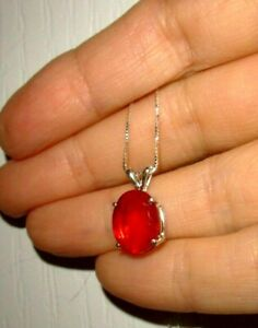 RED FIRE OPAL NECKLACE BIG EARTHMINED 2.92CT FACETED GEM US MADE PENDANT SILVER