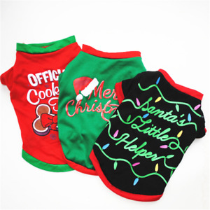 Tiny Small Bread Pet Puppy Dog Christmas Cotton T-shirt Jumper Jacket Outfit