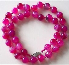 10MM ANTIQUE ART DECO GENUINE RARE PINK CHALCEDONY AGATE BEADS NECKLACE AAA