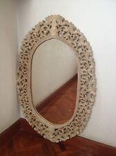 Vintage wood carved picture/mirror frame oval shape