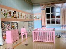 Marx Vintage 1950's 4 Piece Nursery Dollhouse Furniture 1:24