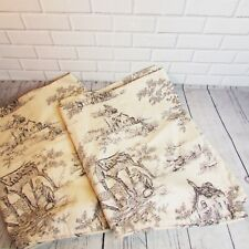 2 Curtain Valances Black Cream Toile 100% Cotton Scalloped Hem Country Lined