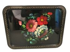 "VTG Toleware Hand Painted Floral Large Metal Tray 14""x18"" Marked Yeha Kon Russia"