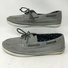 Sperry Top Sider Cruz 2 Eye Boat Shoe Canvas Lace Up Moc Toe Slip On Gray Men 12