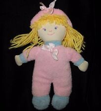 "Blankets & Beyond Pink Blue Terry Cloth Plush Doll Yellow Hair 8"" Soft Toy"