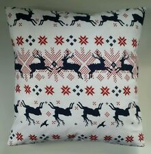 "Nordic Stag Deer Navy Red Brushed Cotton Cushion Cover 16"" x 16"""