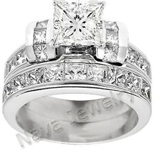 3.28 Ct Princess Cut Diamond Bridal Set Ring GRA Certified