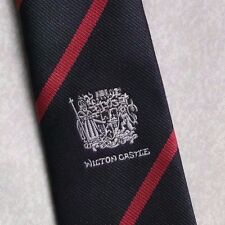 WILTON CASTLE TIE VINTAGE RETRO BLACK RED CLUB STRIPED 1980s 1990s MENS NECKTIE