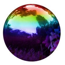 8in Rainbow Gazing Mirror Globe Stainless Steel Ball Patio Decor Garden Accent