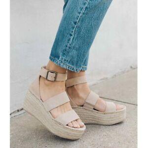 NEW Soludos Palma Suede Espadrille Platform Sandals Women's Size 10 Tan Beige