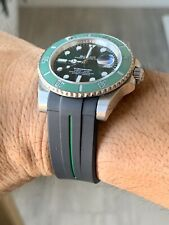 20mm BLACK Vulcanized Rubber Strap 40mm sub Cases GREEN stripe Submariner GMT