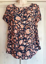 Ladies Navy Top with Orange/Beige Floral Pattern from New Look in a size 10