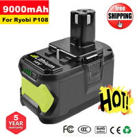 18V 9.0Ah Li-Ion Replacement Battery For Ryobi One+ Plus P108 P107 High Capacity
