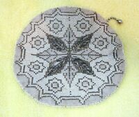 """Antique Glass Beaded Purse Bag w Silver Snowflake Round w Belt Loop 5 3/4""""  T22"""