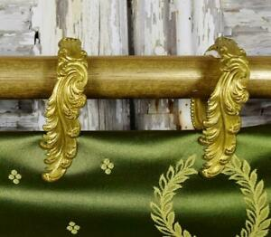 Gorgeous SET 12 Antique French Toleware Acanthus Leaf Chateau Curtain Rings