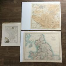Three x Vintage Maps - Bath,Bristol 1945, Northern England 1914 & Derbyshire